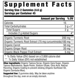 Supplement Facts for Megafood Gummy Turmeric Inflammation Response*