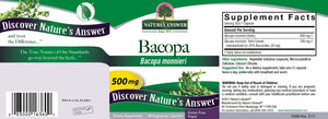 Full package layout for Nature's Answer Bacopa, Supplement Facts included