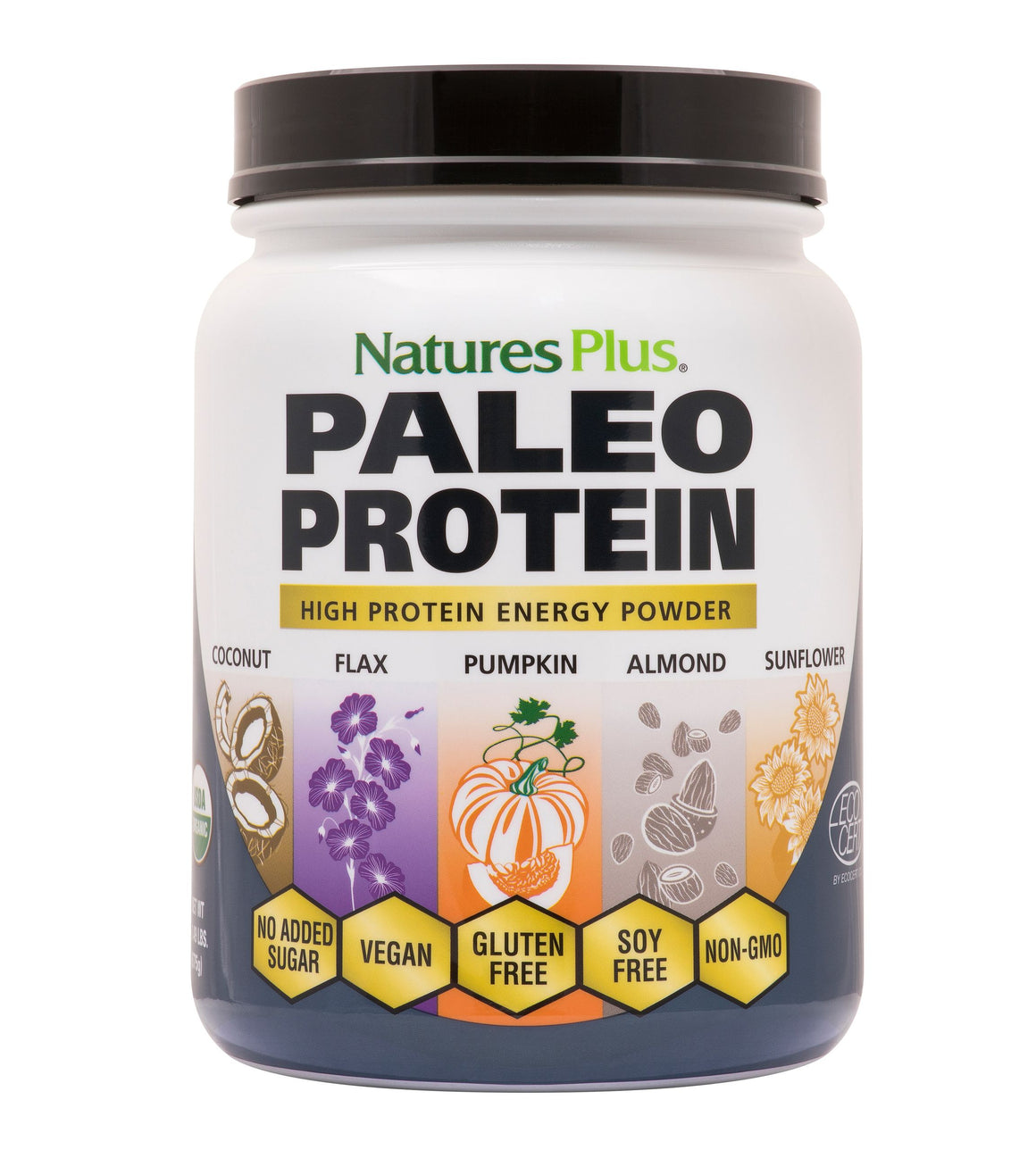 A jar of Nature's Plus Organic Paleo Protein