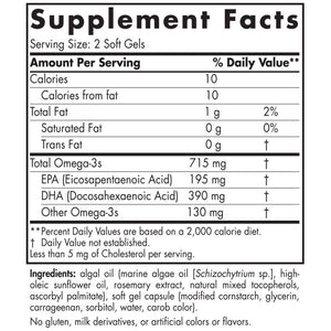 Supplement Facts for Nordic Naturals Algae Omega