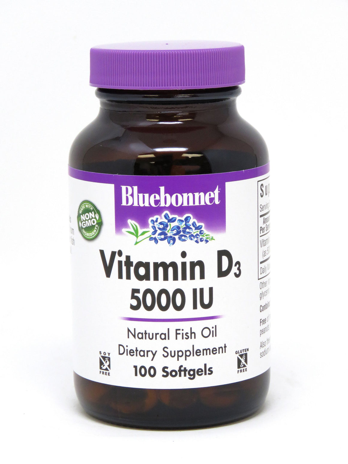 A bottle of Bluebonnet Vitamin D3 5000 IU