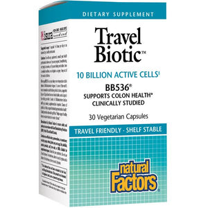 A bottle of Naturals Factors TravelBiotic® 10 Billion Active Cells of BB536®