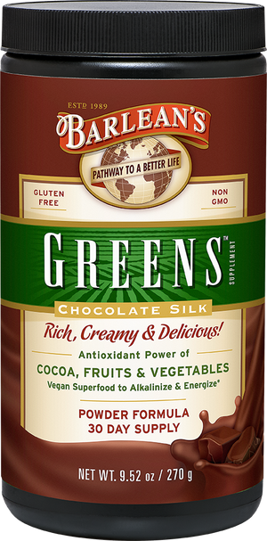 A jar of Barleans Chocolate Silk Greens™ Powder