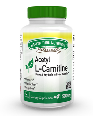 A white pill bottle with a colorful green label that reads Health Thru Nutrition Acetyl L-Carnitine