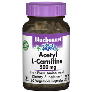A rendering of a pill bottle with a white and purple label that reads Bluebonnet Acetyl L-Carnitine 500mg
