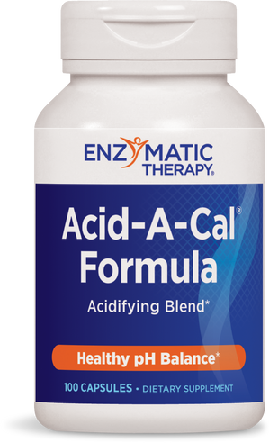 A bottle of formula with a blue label that reads Enzymatic Therapy Acid-A-Cal Formula