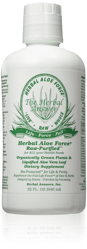 A bottle of Herbal Answers Herbal Aloe Force