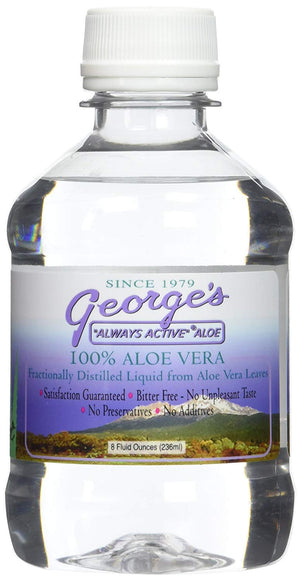 A small bottle of George's Aloe Vera Aloe Liquid