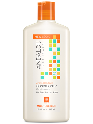 A bottle of Andalou Naturals Argan Oil & Shea Moisture Rich Conditioner