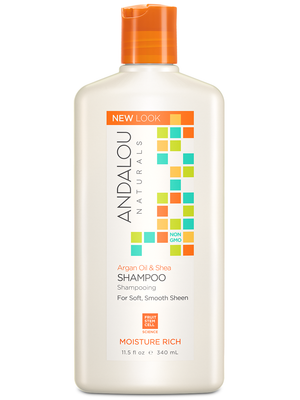A bottle of Andalou Naturals Argan Oil & Shea Moisture Rich Shampoo