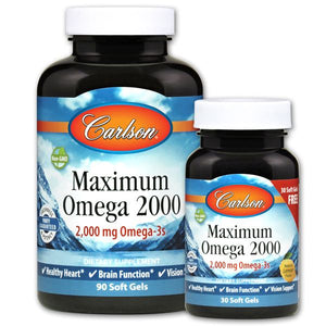 Two jars of Carlson Maximum Omega 2000
