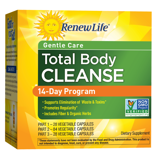 A package of Renew Life Total Body Cleanse, 14-Day