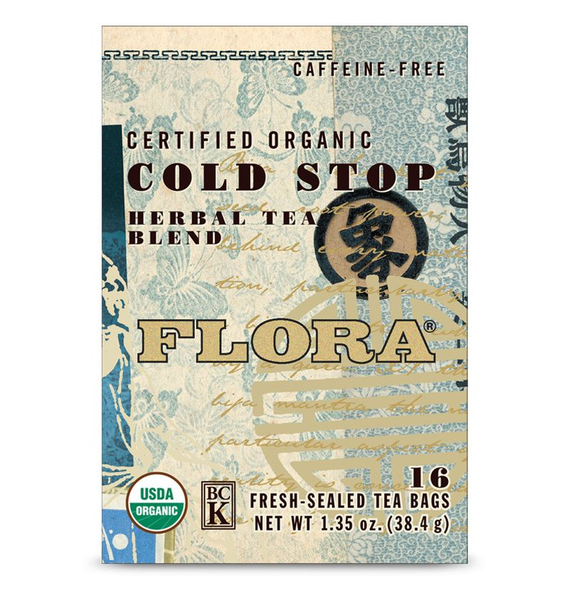 A box of Flora Cold Stop Tea