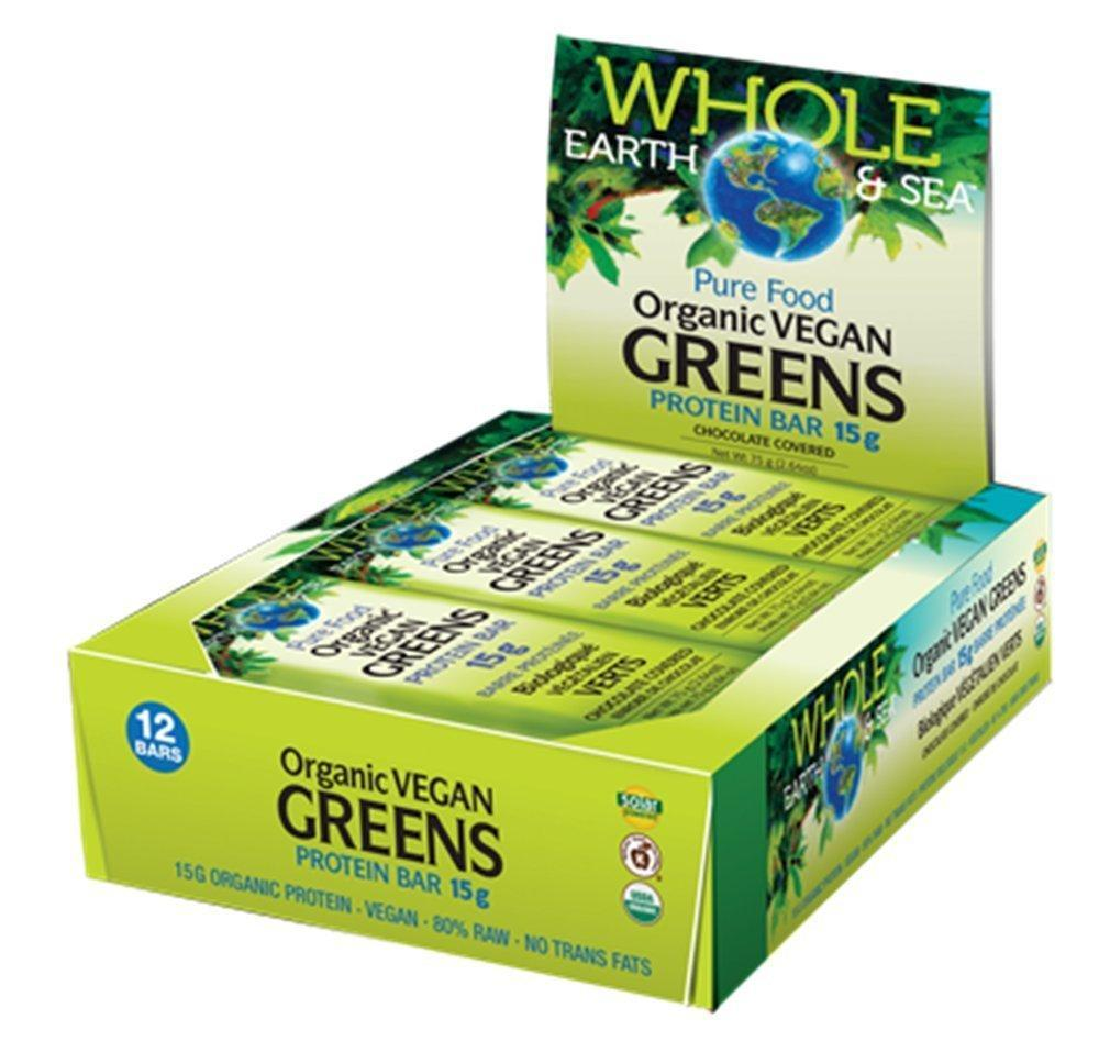 Whole Earth & Sea Organic Vegan Greens Protein Bars - box of 12 bars