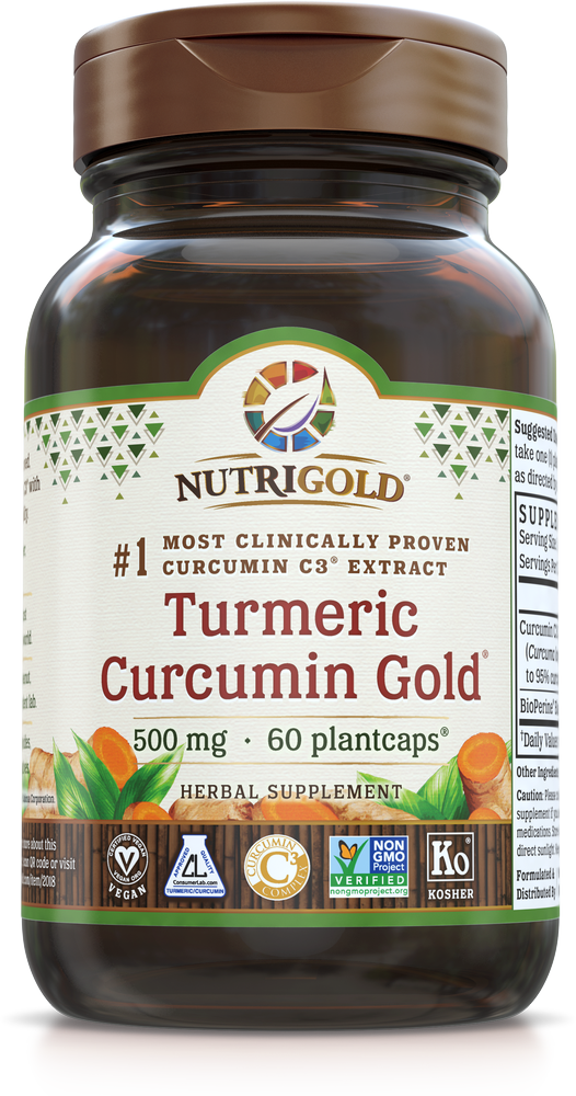 A bottle of NutriGold Turmeric Curcumin Gold