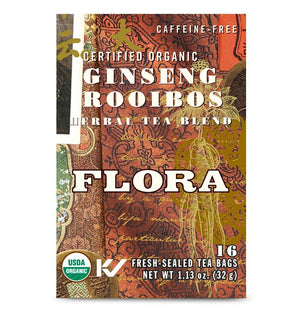A box of Flora Ginseng Rooibos Tea