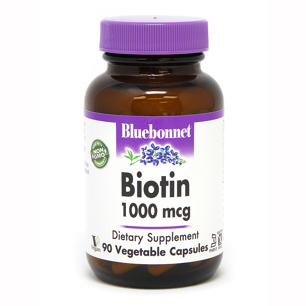 A bottle of Bluebonnet Biotin 1000 mcg