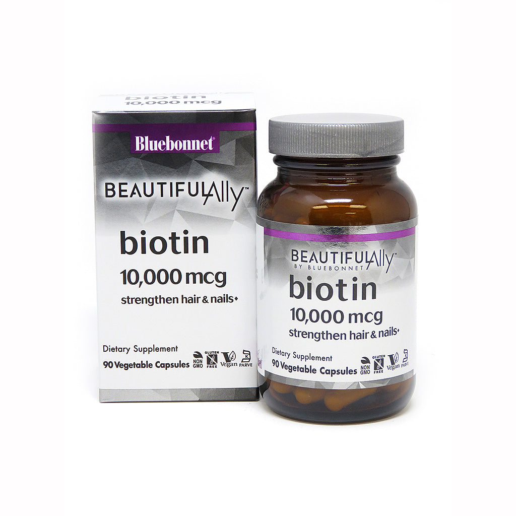 The package and bottle for Bluebonnet Beautiful Ally® Biotin 10,000 mcg