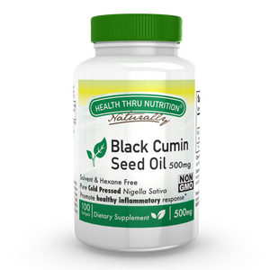 A bottle of Health Thru Nutrition Black Seed Oil 500mg