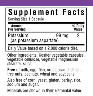 Supplement Facts for Bluebonnet Potassium 99 MG