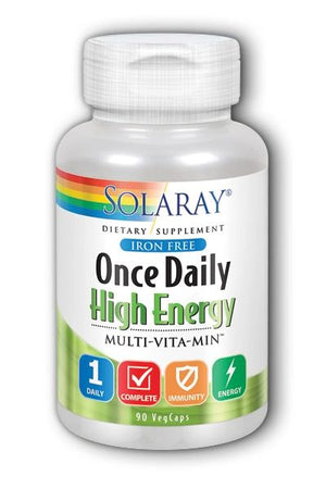 A bottle of Solaray Once Daily High Energy Multi-vitamin, Iron Free