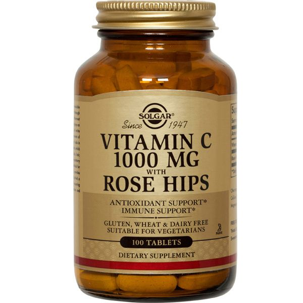 A bottle of Solgar Vitamin C 1000 mg with Rose Hips