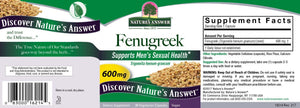 A label with supplemental facts for Nature's Answer Fenugreek Seed