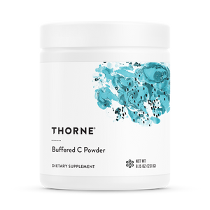 A bottle of Thorne Buffered C Powder
