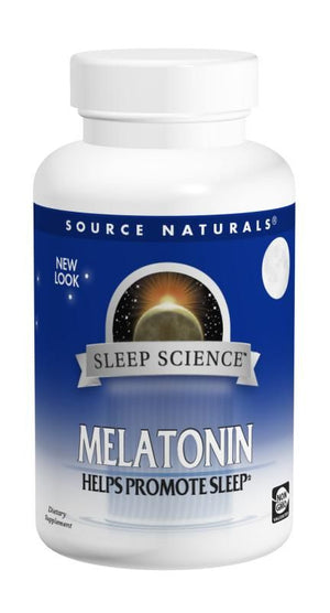 A bottle of Source Naturals Sleep Science™ Melatonin 3 mg