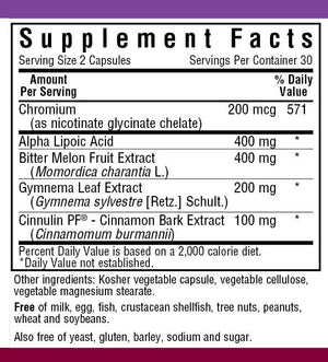Supplement Facts for  Bluebonnet Targeted Choice® Blood Sugar Support