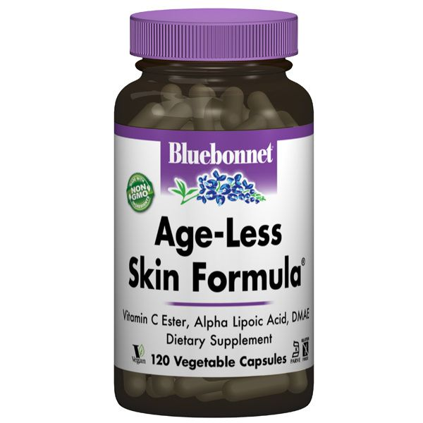A pill bottle for Bluebonnet Age-Less Skin Formula