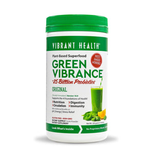 A bottle of Vibrant Health Green Vibrance