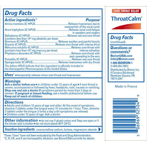 Back of package with Drug Facts for Boiron ThroatCalm