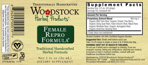 A label with Supplemental facts for Woodstock Herbal Products Female Repro Formula