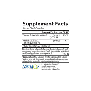 Vitamin D3 + K2 - Carlson Labs - 120 capsules - supplement facts
