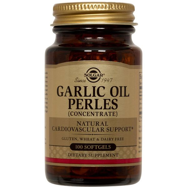 A bottle of Solgar Garlic Oil Perles