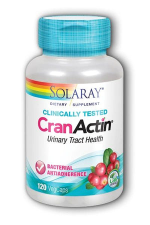A bottle of Solaray CranActin Urinary Tract Health