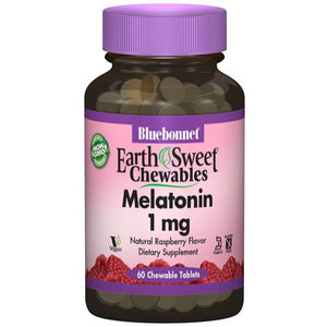 A bottle of Bluebonnet EarthSweet® Chewables Melatonin 1mg