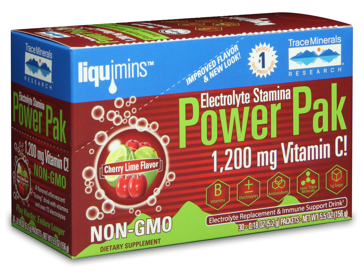 A box of Trace Minerals Electrolyte Stamina Power Pak NON-GMO Cherry Lime