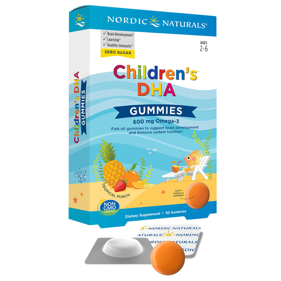 Package and a tab of Nordic Naturals Children's DHA Gummies