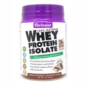 A bottle of Bluebonnet Whey Protein Isolate Powder Chocolate