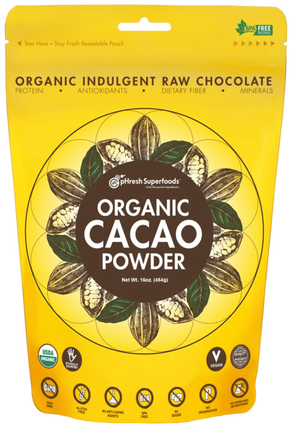 A bag of Organic Raw Cocoa Powder pHresh Superfoods