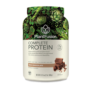 A jar of Plant Fusion Protein Chocolate 2 lb