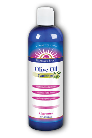 A bottle of Heritage Store Olive Oil Conditioner, Unscented 12 oz