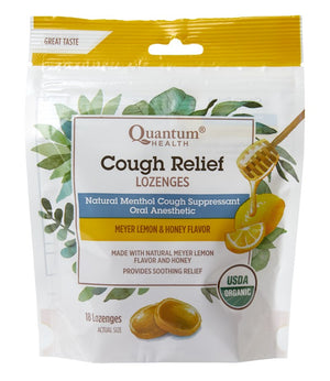 A bag of Cough Relief Lemon Honey Lozenges Quantum Health