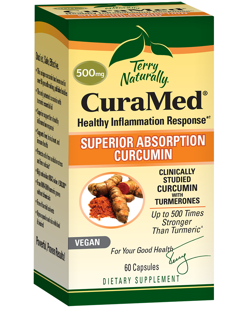 A package of Terry Naturally CuraMed® 500mg Vegan