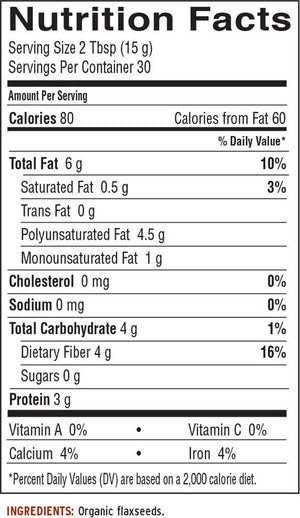 Nutrition Facts for Barleans Organic Forti-Flax™ Flaxseed