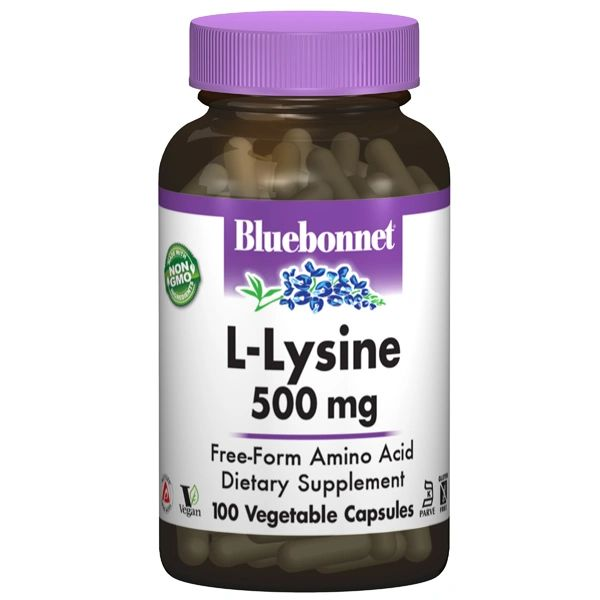 A bottle of Bluebonnet L-Lysine 500 mg