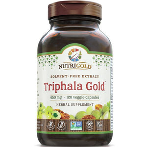 A bottle of NutriGold Triphala Gold