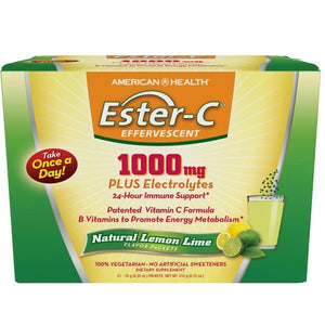 A box of American Health Ester-C® 1000 mg Effervescent Natural Lemon Lime - 21 packets